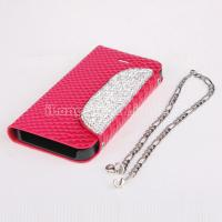 Quality Wallet style PU Leather stand Case with Diamond button for iPhone 5/5S for sale