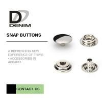 Quality Overcoat Flat Silver Snap Buttons | Snap Closure Buttons 4 Parts Design Metal Cap Snap Fasteners for sale