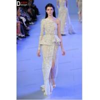 China CH1907 Fashion Heavy Beaded A-line White Elie Saab One Shoulder Long Sleeves Dress on sale