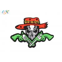 Twill Material Gun Skull Custom Motorcycle Patches Sew On Backing For Leather Vest