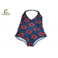 China Customized Red Circle Lycra One Piece Swimsuit , Womens One Piece Bathing Suits OEM on sale