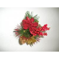 China Red Plastic Artificial Flower Garlands Arrangements Decorations with Pine Needle on sale