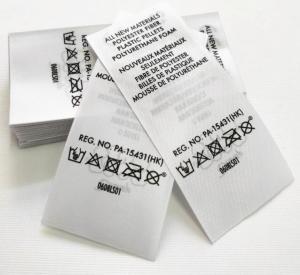 Quality Heat Transfer Swimwear Nylon Satin Wash Care Label / Heat Press Tagless Labels for sale