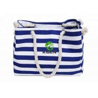 China Large Capacity Canvas Striped Bag , Heavy Duty Ladies Beach Bag OEM Accepted on sale