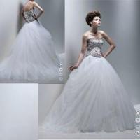 Quality Beaded Bodice Tulle Skirt Ball Gown Wedding Dress (111521) for sale