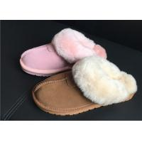 Quality 100% Sheepskin Slippers Ladies Shoes Chestnut EVA Soft Sole Suede Leather Slipper for sale