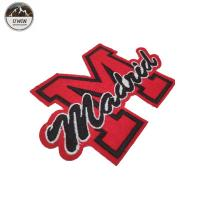 Quality M Letter Embroidered Sports Patches Red / Black Customized Size With Felt Bottom for sale