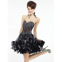 Quality Strapless Black Short Evening Party Dresses Mini And Organza for sale