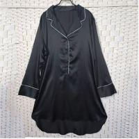 China Sexy Black Women Pyjama Set , Long Sleeves Soft Ladies Satin Pyjamas on sale