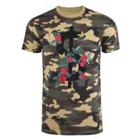 Quality Embroidered Military T Shirt , Cotton Camouflage T Shirts Floral Pattern for sale