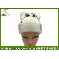 Quality Chinese manufactuer cat hawk embroidered winter knitting patterns for hat cap 50g 20*22cm 100%Acrylic keep warm for sale