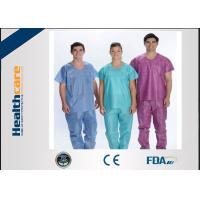 Quality Soft Nonwoven Disposable Scrub Suits With ISO13485 Surgical Nurse Coat Pink Dark Green for sale