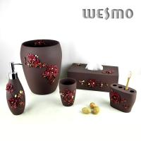 Quality Polyresin Bathroom Set with Embossed Flowers for sale