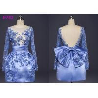 Buy Blue Color See Through Short Long Sleeve Evening Dresses With Bowknot at wholesale prices