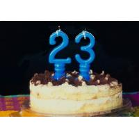 Quality Pure Blue Color Mini Number Birthday Candles With Spiral Candle Holder for sale