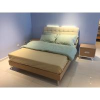 Buy cheap Steady wood bed frame with metal supporting legs with comfortable upholstered headboard product