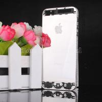 Quality Mirror silvery Diamond back cover with diamond Logo for iphone 5 for sale