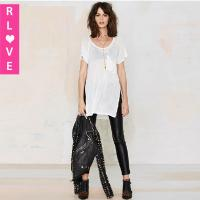 Quality New hedging o-neck white shirt , long sections stitching blouse pocket swallowtail blouse for sale