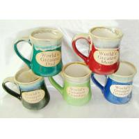 Buy Stoneware Reactive Glaze Mug / Porcelain Coffee Mugs With Embossed Wordings at wholesale prices