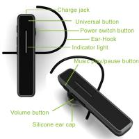 Buy cheap Black ABS & PVC Mono Bluetooth Headset , Stereo 3.5mm Audio Jack Bluetooth Headphone from wholesalers