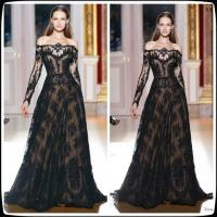 Black Zuhair Murad Long Sleeves Evening Party Dresses With A Line , Celebrity Prom Gowns