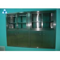 China Drug Storage Hospital Air Filter Stainless Steel Medical Cabinets With Manual Sliding Half - Glass Door on sale