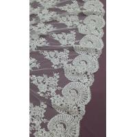 Quality 140cm Sequin Beaded Ivory Lace Fabric , White Embroidered Bridal Wedding Lace for sale