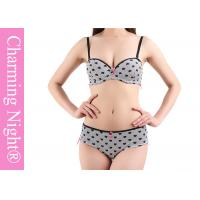 Quality Printed Heart Mature Ladies Sexy Bra Sets With Matched Brief Panties for sale