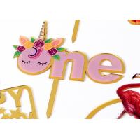 Quality Non - Toxic Acrylic Cake Topper For Happy Birthday / Wedding Party Decorations for sale