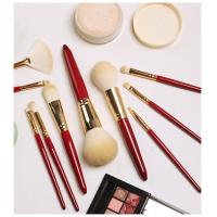 Quality Red Wood Handle Powder Foundation Brush Single Rose Type Appearance CNAS Approved for sale