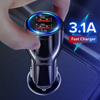 Quality 18W 3.1A Car Charger Quick Charge 3.0 Universal Dual USB Fast Charging QC For iPhone Samsung Xiaomi Mobile Phone In Car for sale