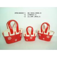 Quality Decorative Ceramic Flower Pots Bag Shaped Xmas With Handle 20.3 X 10.5 X 20.8 Cm for sale