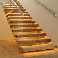 Quality Floating stairs with wooden tread and frameless glass railings for sale
