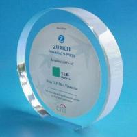 Quality Acrylic Award with Paper Printing for sale