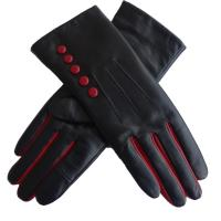 China Wholesale hot sale women genuine leather driving gloves with button on sale