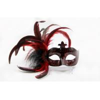 China Plastic Lace Masquerade Masks 12 Red Feather Venetian Masks Halloween on sale