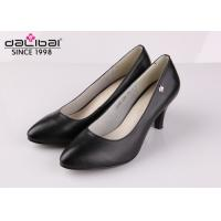 Cow leather wedge heel non slip leather dress shoes for senior executive women