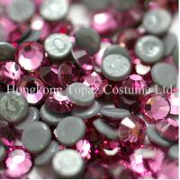 China SS16/4mm Rose Extra strong glue heat transfer iron on bling rhinestone on sale