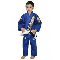 Quality Waterproof Childrens Martial Arts Uniforms Blue and White kimono for sale