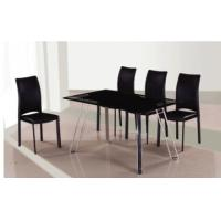 Quality black chromed-plated tempered glass dining table with four chairs T003 for sale