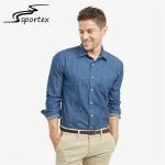 Quality Plain Color Slim Fit Denim Shirt Mens , Blue Denim Shirt Anti Wrinkle for sale