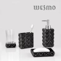 Quality 4 Pcs Black Polyresin Bathroom Set for sale