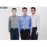 Quality Polyester Cotton Male Security Officer Uniforms Blue Long Sleeve Shirt for sale