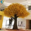 Eco Friendly Plastic Yellow Ginkgo Biloba Tree , Fake Ginkgo Tree Leaves for sale