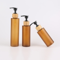 Quality 130ml Amber Frosted Pet Plastic Bottles With Lotion Spray for sale