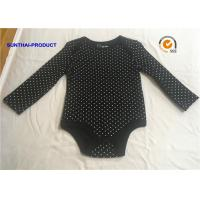 Quality Classic Black Baby Bodysuit , Rubber Pin Dots Print Newborn Baby Girl Rompers for sale