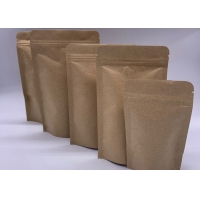 China 32gsm 3cm Food Grade Paper Bag , Kraft Zipper Pouch Bags on sale
