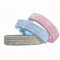 Quality Rhinestone Decorated Pet Dog Collar, Various Colors are Available, Made of PU Leather/ Velvet for sale