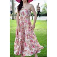 Quality Party Backless Evening Dresses , Summer Print Flower Dresses for sale
