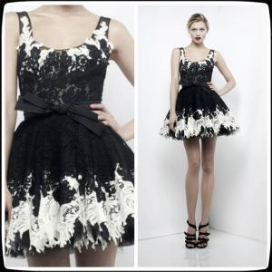 Black Zuhair Murad Lace Short Evening Party Dresses , Mini Cocktail Party Gowns